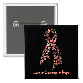 Love Courage Hope Butterfly - Uterine Cancer 15 Cm Square Badge