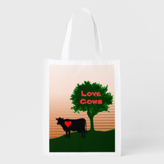Love Cows- Cow Silhouette with Lone Tree (2-Sided) Reusable Grocery Bag