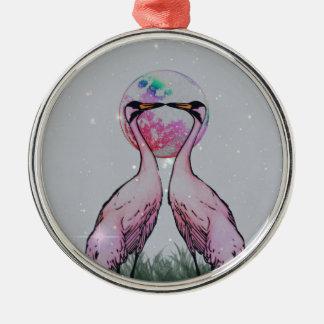 Love Cranes Silver-Colored Round Decoration