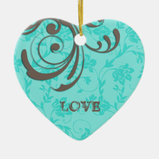 LOVE Cristmas Blue Heart Swirl Ornament
