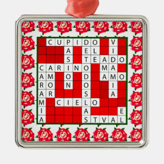 Love Crossword in Spanish on Christmas Ornament
