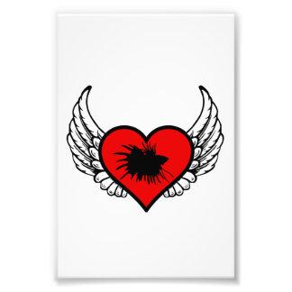 Love Crown Tail Betta Fish Silhouette winged Heart Photo Art