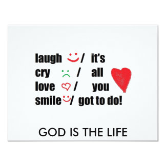 love,cry,laugh,smile 11 cm x 14 cm invitation card