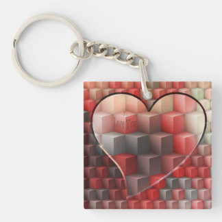 Love Cubed Double-Sided Square Acrylic Key Ring