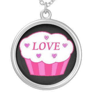 LOVE cupcake Round Pendant Necklace