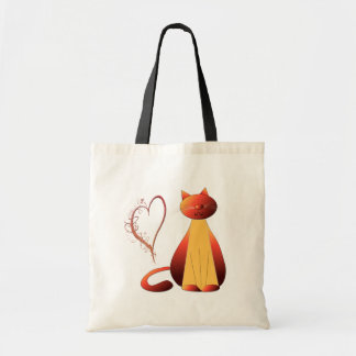Love Cute Ginger Cat Art Bag