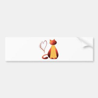 Love Cute Ginger Cat Digital Art Bumper Sticker