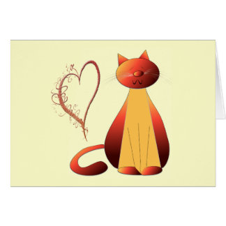 Love Cute Ginger Cat Digital Art Card