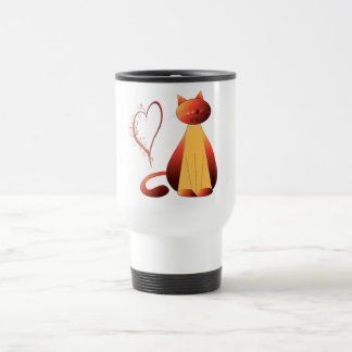 Love Cute Ginger Cat Digital Art Travel Mug