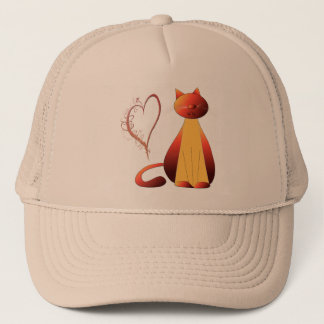 Love Cute Ginger Cat Digital Art Trucker Hat