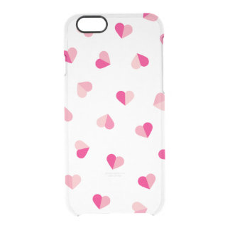 Love Cute Pink Heart Pattern Clear iPhone 6/6S Case