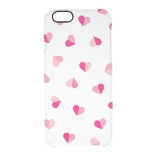 Love Cute Pink Heart Pattern Clear iPhone 6/6S Case