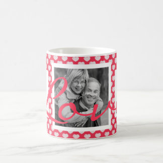 LOVE Cute Pink Hearts with three photos Basic White Mug