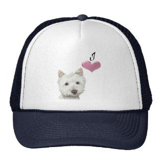 Love Cute Westie Dog Art with 3D Heart Cap