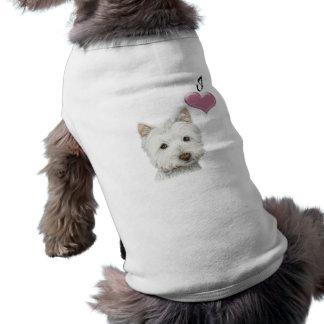 Love Cute Westie Dog Art with 3D Heart Doggie T Shirt