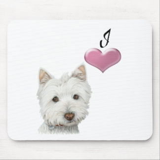 Love Cute Westie Dog Art with 3D Heart Mouse Mat