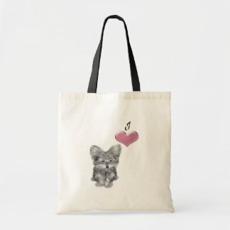 Love Cute Yorkie Dog Art with 3D Heart Tote Bag