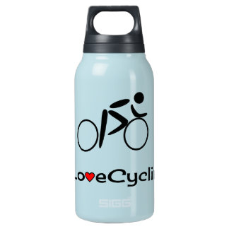 Love cycling pictogram cyclist insulated water bottle