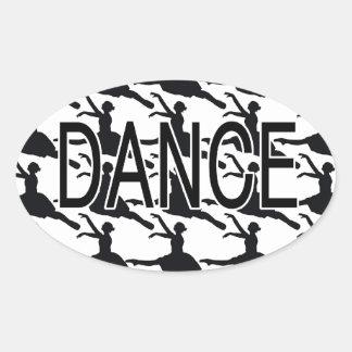 Love Dance - Ballerina dancer silhouette Oval Sticker