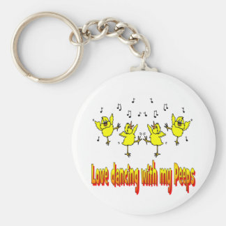 LOVE DANCING WITH MY PEEPS GIFTS BASIC ROUND BUTTON KEY RING