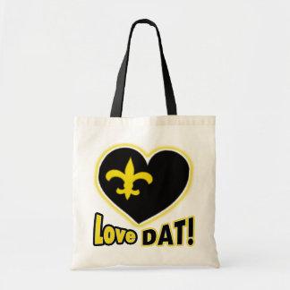 love DAT! Black & Gold  Heart de Lis Tote Bag