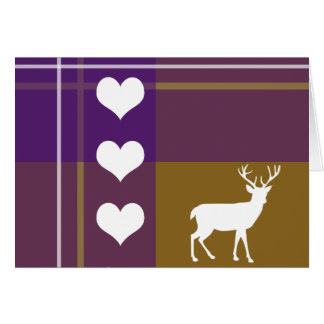 Love deer plaid pattern card