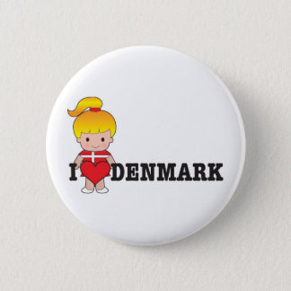Love Denmark 6 Cm Round Badge
