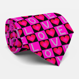 LOVE Diamonds Checkered Glowing Hearts -Valentines Tie