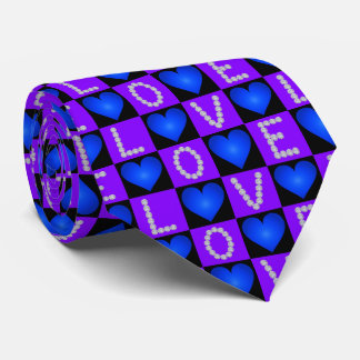 LOVE Diamonds Checkered Glowing Hearts, Valentines Tie