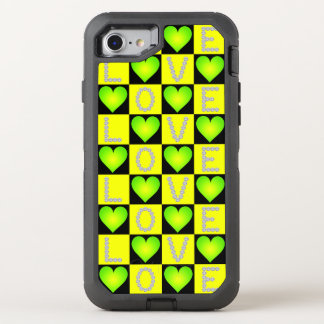 LOVE Diamonds Checkered Neon Green Glowing Hearts, OtterBox Defender iPhone 8/7 Case