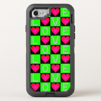 LOVE Diamonds, Checkered Pink Glowing Hearts, OtterBox Defender iPhone 8/7 Case