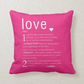 Love Dictionary Definition Valentine Typography Throw Cushion
