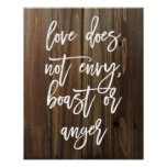 Love does not envy, boast or... Faux Wood | Poster