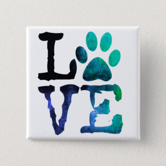 Love, Dog Paw Print Button
