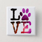 Love, Dog Paw Print Button