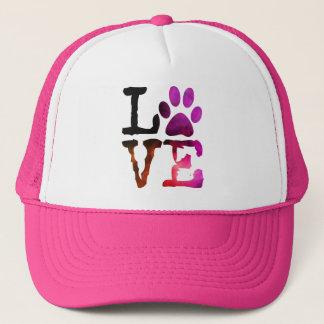 Love, Dog Paw Print Pink Hat
