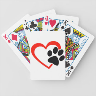 Love Dogs Paw and Heart Bicycle Playing Cards