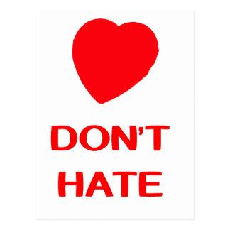 LOVE DON'T HATE  Postcard