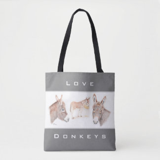 """Love Donkeys"" Tote Bag"