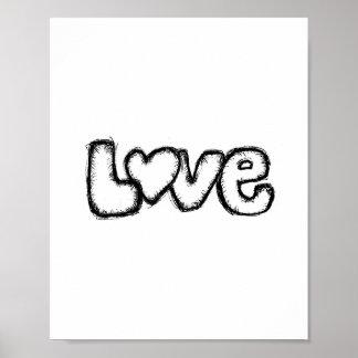 love doodle black white modern simple custom poster