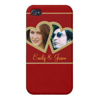 Love Double Heart Photo Frame i iPhone 4 Covers
