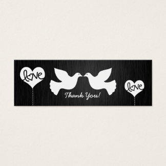 Love Doves black and white Tank You tags Mini Business Card