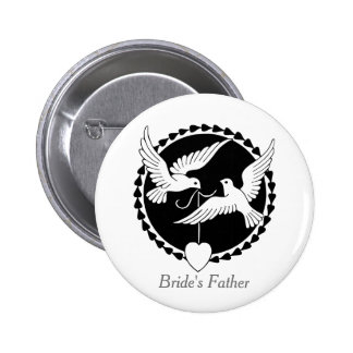 Love Doves Elegant Lesbian Bride's Father's Badge