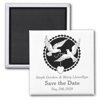 Love Doves Elegant Save the Date Wedding Magnet