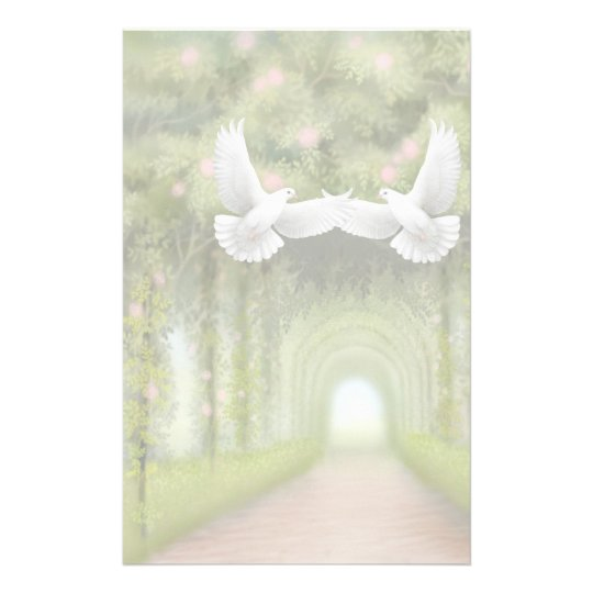 Love Doves in Rose Garden Stationery