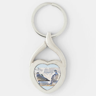 Love Doves In the Clouds Key Chain