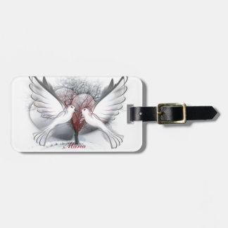 Love Doves Luggage Tag With Leather Strap
