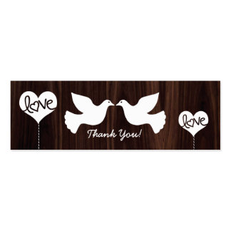 Love Doves Thank You tags (dark chocolate bron) Pack Of Skinny Business Cards