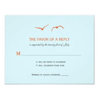 Love Doves Wedding RSVP Cards - Sky Blue 11 Cm X 14 Cm Invitation Card