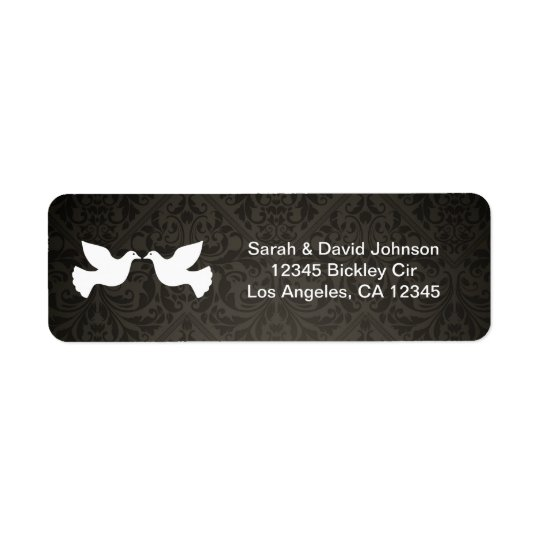 Love Doves with black and grey damask Return Address Label